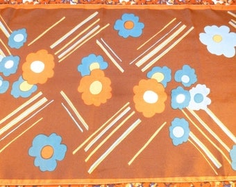 Long retro scarf with flower print - brown, burnt orange, turquoise, teal, white, tan
