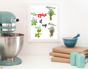 spice art - kitchen wall decal - Thyme card - Herbs printable - Herbs kitchen wall décor - Herbs kitchen art - herbs instant download