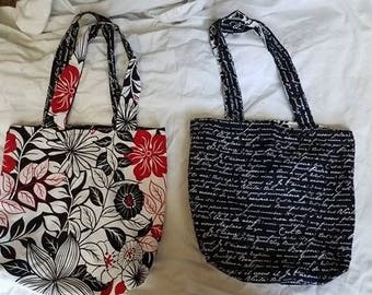 Reversible Tote Bag with Floral Pattern and French Writing