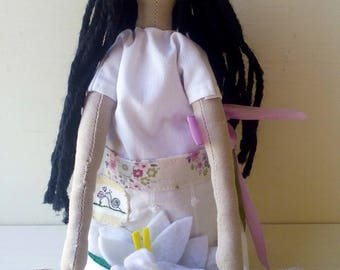 yoga - yogi - yoga mat - yoga accessories - felt flowers - handmade doll - heirloom doll - art doll - yoga decor