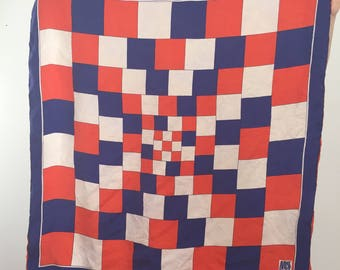 1970's Miss Dior Silk Scarf / Early 70's Christian Dior / Red, White and Blue Scarf / Vintage Dior Scarf / July 4th