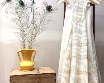 Edwardian hand crocheted cotton christening gown