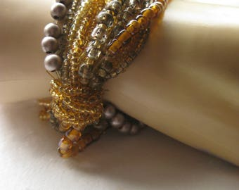 Golden Glow Multi Strand Beaded Stretch Bracelet