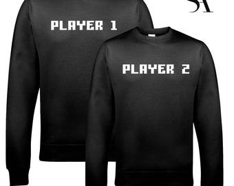 Player 1 & 2 Gamer Sweatshirts - Free UK Shipping
