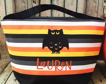 Trick or Treat Bag - Halloween Treat Bag - Personalized Halloween Bag - Halloween Tote Bag - Halloween Decor - Trick or Treat - Owl Bag