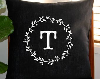 Personalised Monogram Cushion Cover with Gumnut Wreath