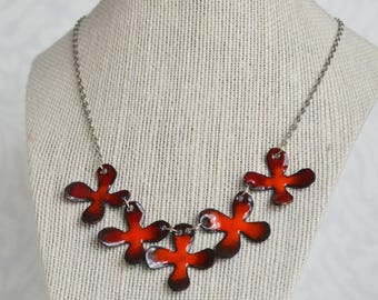 Red Flower Chain Enamel Necklace