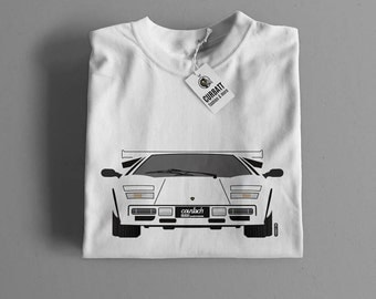 T-shirt Lamborghini Countach 5000 Quattrovalvole | Gent, Lady and Kids | all the sizes | worldwide shipments | Car Auto Voiture