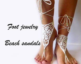 White Barefoot sandals Beach wedding White Barefoot footless sandals Bridal barefoot Beach footless Crochet barefoot Beach sandal footless