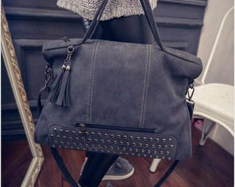 Rivet Nubuck Leather Tassel Messenger Bag