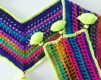 Unisex Rainbow Scarf with Chunky Neon Tassels