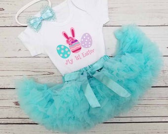 Baby girl 1st Easter outfit - FIRST EASTER Onesie/Easter eggs onesie/Aqua Blue tutu/Aqua Glitter Bow headband