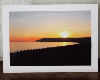 Any occasion photo card - Sunset on Eastbourne beach