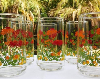 Vintage Libby Wildflower design drinkware, set of 6; Pristine vintage condition, perfect holiday gift for her!