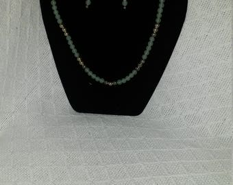 Light Green Jade and silver Necklace and Earrings