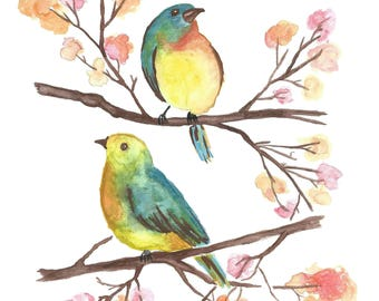 Two Birds on Branches