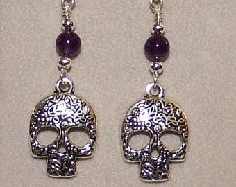 Sugar Skull earrings with Amethyst