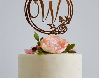 Monogram Cake Topper Wedding Initials W Toppers Letter Gold Initial