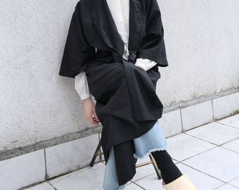 Linen Kaftan Black- Black Kaftan Dress Linen- Kimono Jacket Black Linen With Belt