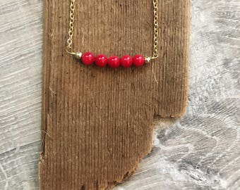 Beaded Choker Necklace - Beaded Bar Necklace - Bar Necklace - Red Bead Necklace
