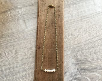 Beaded Choker Necklace - Beaded Bar Necklace - Bar Necklace - Pearl Necklace