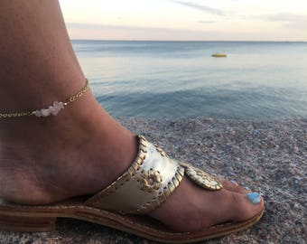 Beaded Anklet - Beaded Bar Anklet - Bar Ankle Bracelet - White Gemstone Anklet - Stone Ankle Bracelet