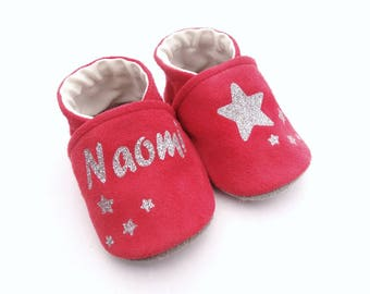 Red genuine leather pink with stars and name of baby booties