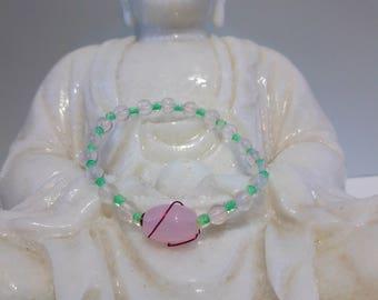 Rose quartz bracelet, gemstone jewelry, natural stones