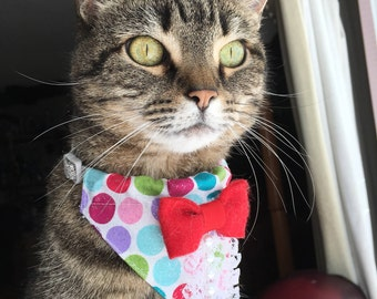 Slip on Bandana with Collar. Cat Bandana. Dog Bandana. Pet Bandana. Cat Accessory. Dog Accessory. Pet Accessory