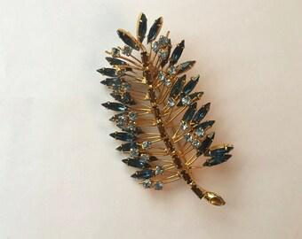 Stunning Statement Vintage Crystal Leaf Brooch