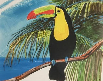 Print of Toucan and Palm tropical wall art giclee for home decor