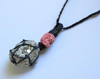 Hemp Wrapped Pyrite Stone Necklace