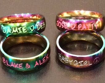 Rainbow stainless steel rings. Birthday gift, couples rings, wedding bands, promise rings