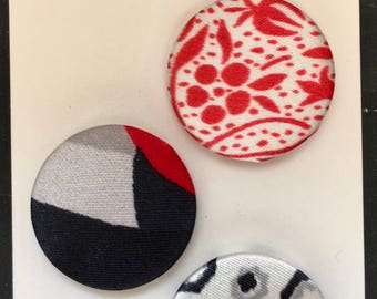 Red, Black, and White Fabric Pin Back Buttons, Set of 3