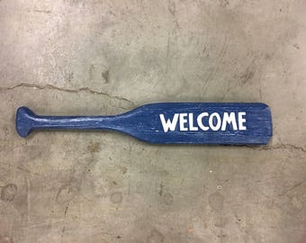 "Hand painted wood paddle ""Welcome"" Sign"