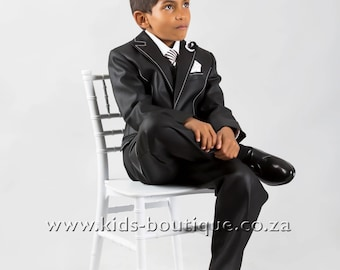 3 Piece Black Suit With White Stitching