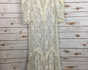 Vintage Lace Sheer Wedding Gown Dress Overlay Outer Net Pearls Ivory 10 (KK)