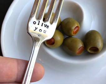 Olive You hand stamped fork I Love You Valentine's Day vintage silverware upcycled fork Anniversary Wedding Boyfriend Girlfriend