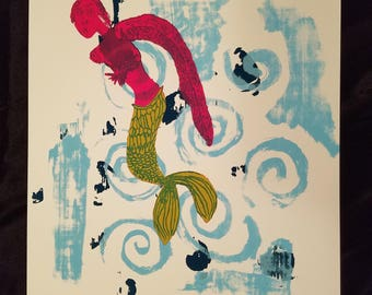 Mermaid original silkscreen print