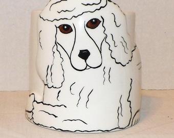 Dogs By Nina Lyman-Coffee Mug-3D White Poodle Coffee Cup-Mug-Signed-Dogs by Nina