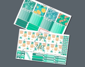 "August 2018 Monthly Planner Sticker Kit ""Tropical"": Made to fit Erin Condren Life Planner"