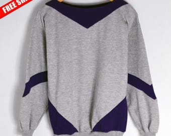 Vintage Sweatshirt Design Fohn Women M Vintage gray jumper 90s jumper 90s sweatshirt Jumper women Vintage sweater cotton Geometric jumper
