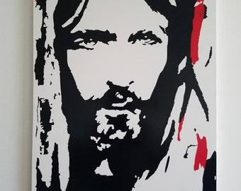 Jesus face  vinyl canvas