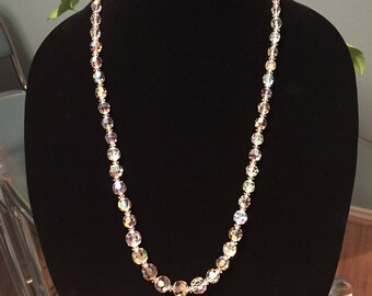Dazzling vintage crystal necklace with matching earrings