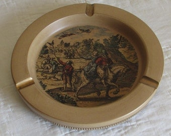 Vintage Italian Ashtray With Renaissance Hunting Scene