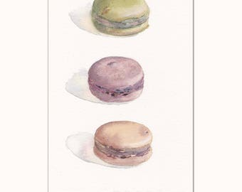 Watercolor of macaroons cookie on white background / Macaroon tower / Desert / Realistic food art / Home wall decor / Green macaroon