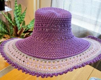 Crochet Hat - Sun Hat - Wide Brim Hat - Cotton Hat - Gift for Her - Handcrafted Hat - Handmade Item - Ladies hat - Spring Hat - Poolside Hat
