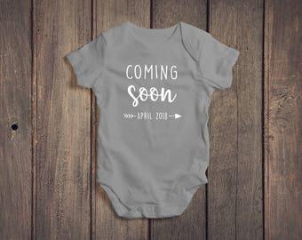 Coming Soon Onesie // Baby On The Way Onesie // Pregnancy Reveal Onesie// New Baby Reveal Onesie // We're Expecting // Baby Arriving