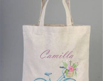 Romantic Tote Bag with Blue Bicycle with flower, Daily Cotton Bag, Personalized Tote Bag, Canvas Bag, Natural Bag, Party Bag, Tote Bag,