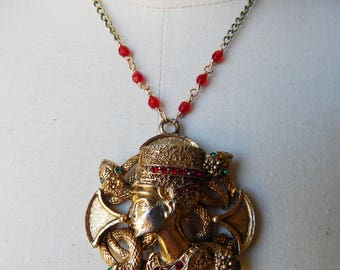 Vintage Upcycled Cleopatra & Asp Egyptian Revival Pendant Necklace